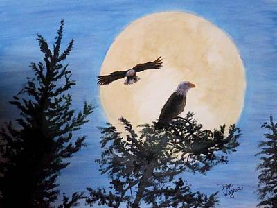 Full Moon Eagle Flight Poster