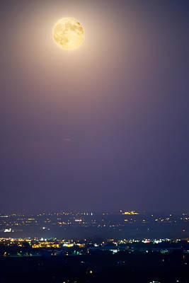 Full Moon Over City Lights Poster