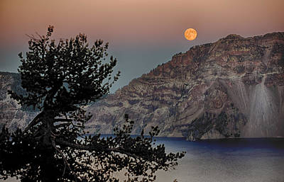 Poster featuring the photograph Full Moon Over Crater Lake by Gary Neiss