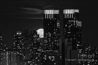 Full Moon Over New York City Poster