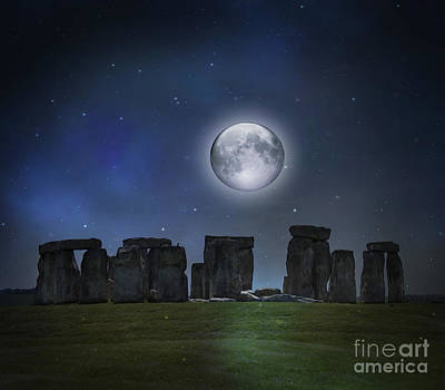 Full Moon Over Stonehenge Poster by Juli Scalzi