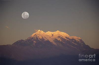 Full Moon Rise Over Mt Illimani Poster by James Brunker