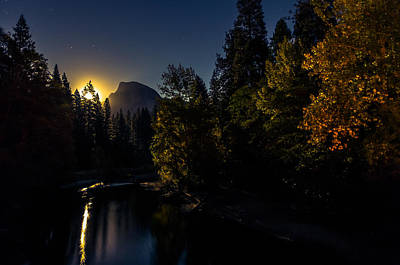 Full Moon Rising Over Half Dome Poster by Scott McGuire