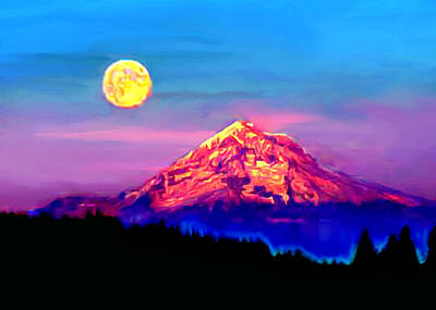 Full Moon Rising Over Mount Hood Oregon Poster
