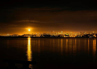 Full Moon Rising Over San Francisco Poster