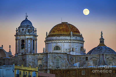 Full Moon Rising Over The Cathedral Cadiz Spain Poster