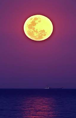 Full Moon Rising Over The Sea Poster by Luis Argerich