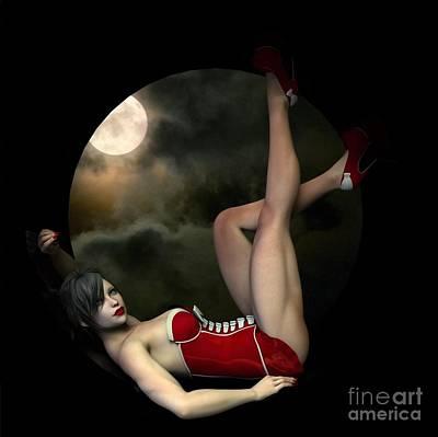 Poster featuring the digital art Full Moon by Sandra Bauser Digital Art