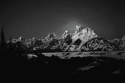 Full Moon Sets In The Teton Mountain Range Poster