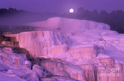 Poster featuring the photograph Full Moon Sets Over Minerva Springs On A Winter Morning Yellowstone National Park by Dave Welling