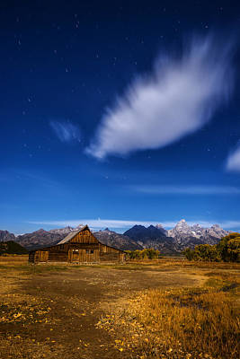 Full Moonlit Mormon Barn At Grand Teton Np Poster by Vishwanath Bhat