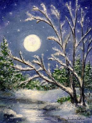 Poster featuring the painting Full Snow Moon by Sandra Estes