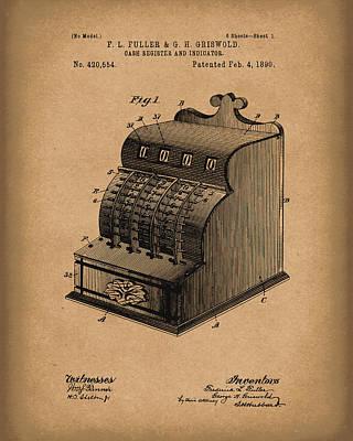 Fuller And Griswold Cash Register 1890 Patent Art Brown Poster