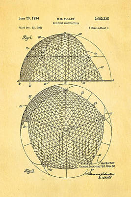 Fuller Geodesic Dome Patent Art 1954  Poster by Ian Monk