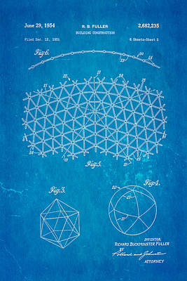 Fuller Geodesic Dome Patent Art 2 1954 Blueprint Poster by Ian Monk