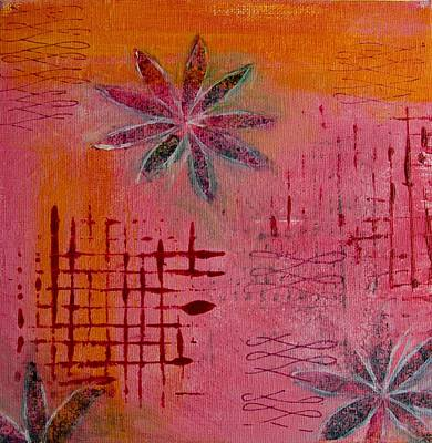 Poster featuring the painting Fun Flowers In Pink And Orange 1 by Jocelyn Friis
