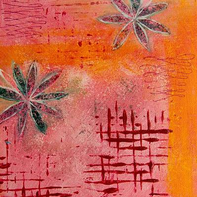 Poster featuring the painting Fun Flowers In Pink And Orange 2 by Jocelyn Friis