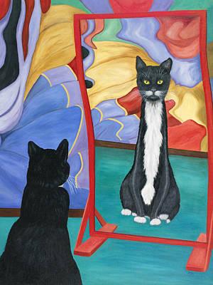 Poster featuring the painting Fun House Skinny Cat by Karen Zuk Rosenblatt