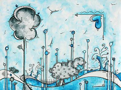 Fun Whimsical Pop Art Sheep Farm Painting Childs Nursery Art By Megan Duncanson Poster by Megan Duncanson