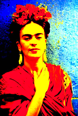 Poster featuring the mixed media Funky Frida IIi by Michelle Dallocchio