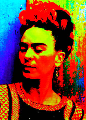 Poster featuring the mixed media Funky Frida by Michelle Dallocchio