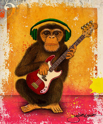 Funky Monkey Poster by Julie Oakes