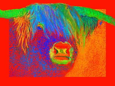 Funky Scottish Highland Cow Wildlife Art Prints Poster by Sue Jacobi