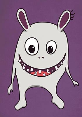 Funny Crazy Happy Monster Poster by Boriana Giormova