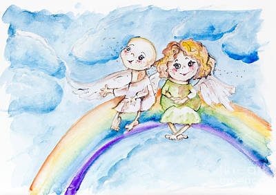Funny Rainbow Angels Poster