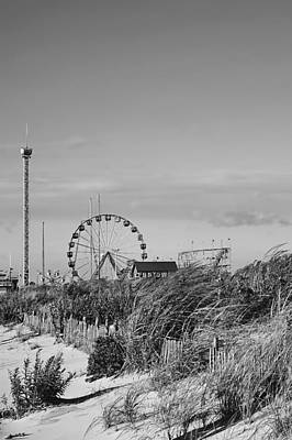 Funtown Pier Seaside Park New Jersey Black And White Poster by Terry DeLuco