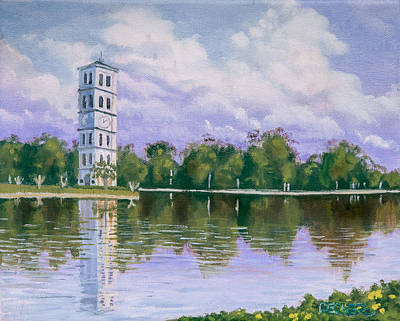 Poster featuring the painting Furman University Clock Tower by Robert Decker