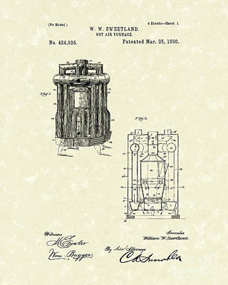 Furnace 1890 Patent Art Poster by Prior Art Design