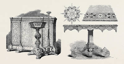 Furniture, East India Company, And, Inlaid Table And Poster by English School