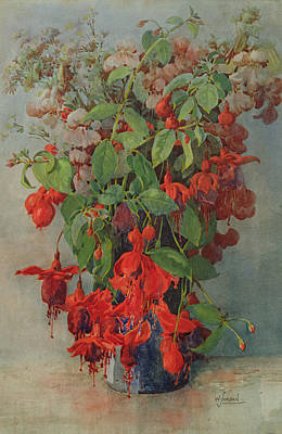 Fushia And Snapdragon In A Vase Poster by William Jordan