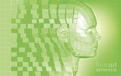 Futuristic Avatar  Polygon Mesh Background Poster by Christos Georghiou