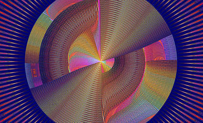 Futuristic Blue Yellow And Pink Tech Disc Fractal Flame Poster