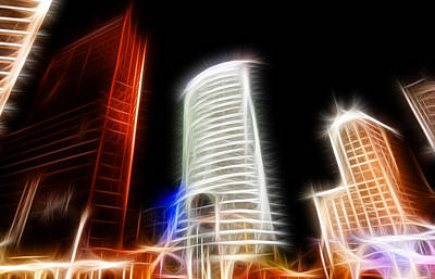 Futuristic Buildings In Berlin Potsdamer Platz Digital Art Poster