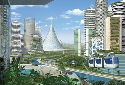 Futuristic Eco City, Conceptual Image Poster by Science Photo Library