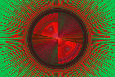 Futuristic Green And Red Tech Disc Fractal Flame Poster by Keith Webber Jr
