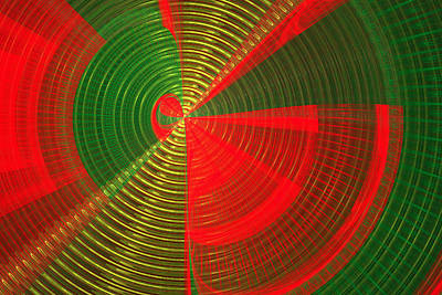 Futuristic Tech Disc Green And Red Fractal Flame Poster by Keith Webber Jr