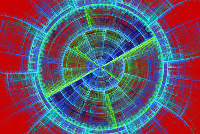 Futuristic Tech Disc Red And Blue Fractal Flame Poster by Keith Webber Jr