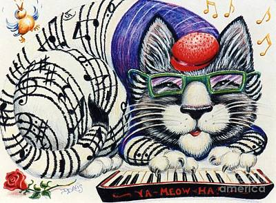 Poster featuring the drawing Fuzzy Catterwailen by Dee Davis