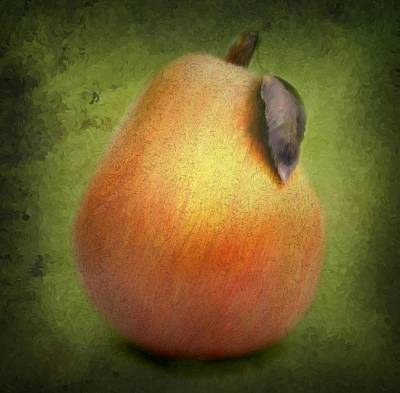 Poster featuring the digital art Fuzzy Pear by Nina Bradica