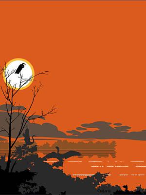 Abstract Tropical Birds Sunset Large Pop Art Nouveau Landscape 3 - Middle Poster by Walt Curlee