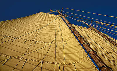 Poster featuring the photograph Gaff Rigged Mainsail by Marty Saccone