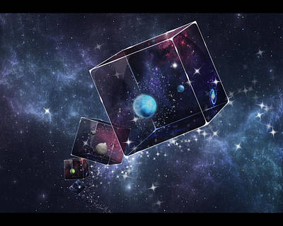 Galaxy Cube Poster by Astrid Rieger