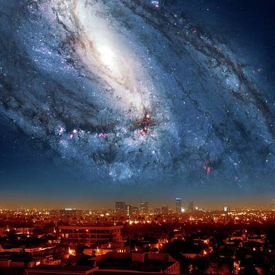 Galaxy Over Los Angeles Poster