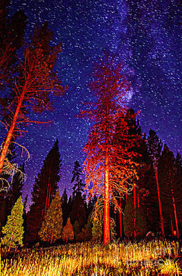 Poster featuring the photograph Galaxy Stars By The Campfire by Jerry Cowart