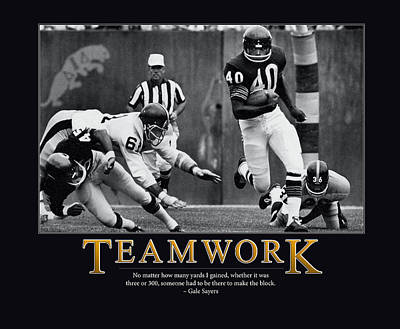 Gale Sayers Teamwork Poster by Retro Images Archive