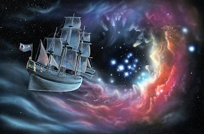 Galleon Amongst The Stars Poster by Richard Bizley